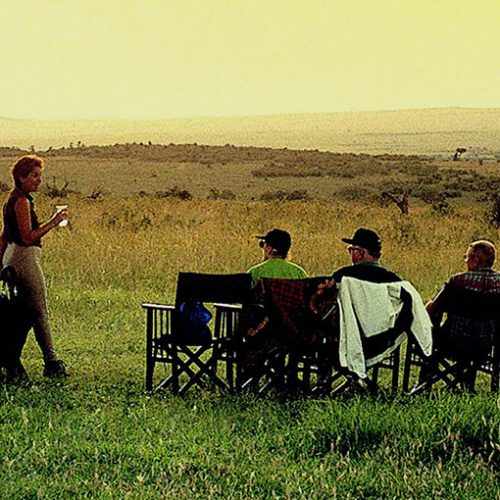Group Safari Enjoying Sunsets